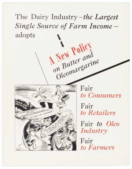 Editorial cartoon, commissioned by the National Cooperative Milk Producers Federation, advocating repeal of the federal tax on oleomargarine and the continuation of the ban on yellow margarine, 1949. Image from the Roy Wier Papers, 1920–1969, Minnesota Historical Society.