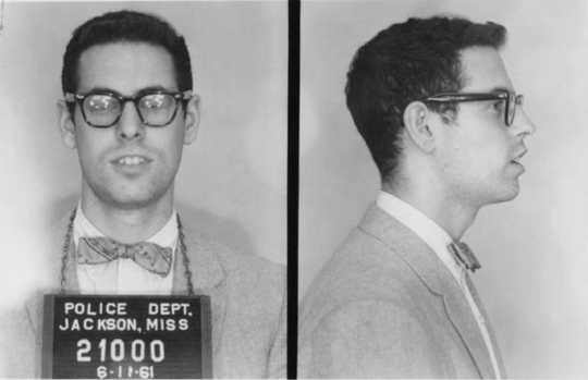 Zev Aelony photographed after his arrest by the Jackson Police Department in Jackson, Mississippi on July 11, 1961.