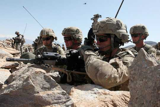Color image of soldiers from Thirty-fourth Infantry Division in Afghanistan, 2011.