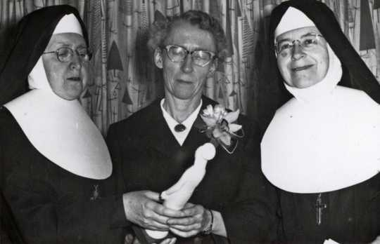 Black and white photograph of Sister Mary William Brady, Agnes Keenan, and Sister Maris Stella Smith (later Sister Alice Smith), 1961.