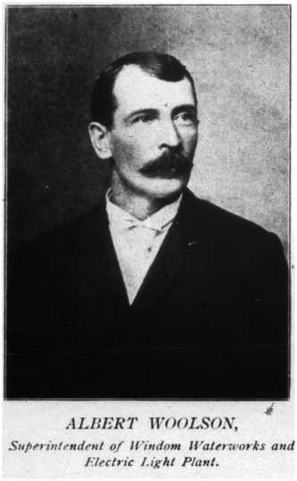Photograph of Albert Woolson, 1896. In that year, Woolson was the superintendent of the Water Works and Electric Light Plant in Windom. The image appears in the 1896 Cottonwood County Plat Book, available at the Minnesota Historical Society under call number 175R.1.