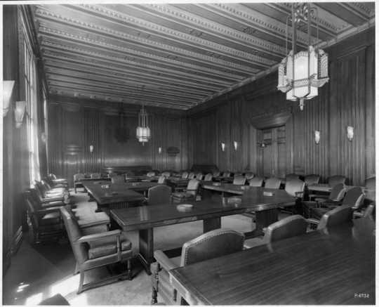 Meeting room, Northwestern National Bank, Minneapolis, ca. 1930.