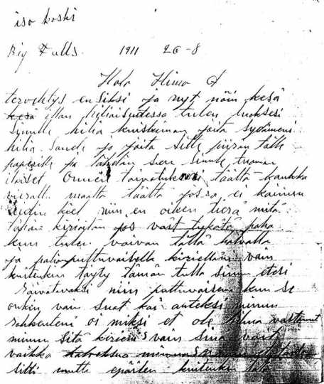 Letter written by Finnish immigrant Bert Aalto