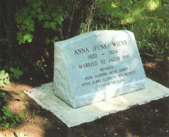 Color image of the tombstone of Anna Funk Wiens inside Carson Mennonite Brethren Church Cemetery, March 13, 2013.