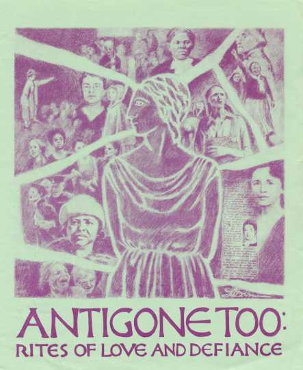 Cover of the program for the play Antigone Too: Rights of Love and Defiance, 1983.