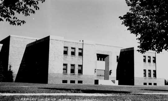 Black and white photograph of Camp Ripley's first armory, located just inside the main gate, was completed in 1937.