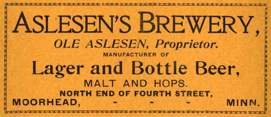 Card advertising Ole Alesen's Brewery in Moorhead, 1900. From the Fargo and Moorhead Directory―1900 (St. Paul: Pettibone Directory, 1900), 222.