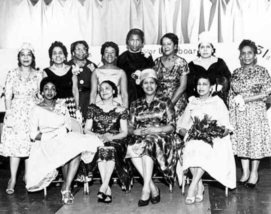 Black and white photograph of the senior usher board, St. Peter's AME Church, Minneapolis, ca. 1960.