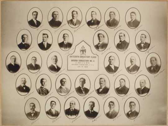 Black and white photo collage of the Consistory Class of Winona Ancient and Accepted Scottish Rite, 1908.