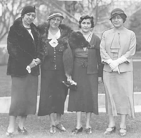 Black and white photograph of members of the St. Paul section of the National Council of Jewish Women, 1933. Pictured are Mrs. Segal, Mrs. Firestone, Mrs. Bronstein, and Mrs. Phillips.