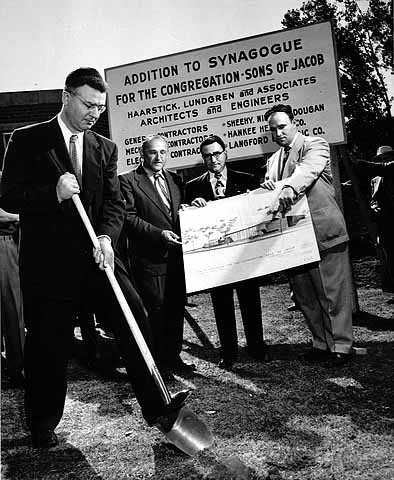 Black and white photograph of Sons of Jacob addition groundbreaking ceremony.