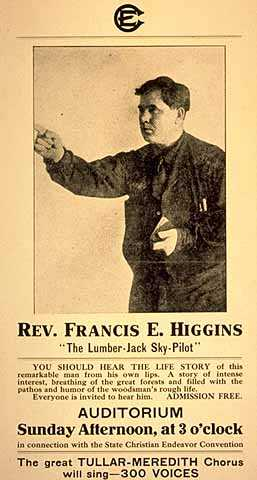 """Poster promoting a lecture by Francis """"Frank"""" E. Higgins, the lumberjack sky pilot, c.1909."""