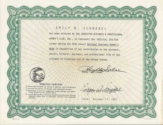 Color image of a BPWC certificate awarded to Emily B. Schnabel, 1977.