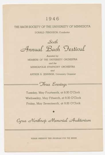 1946 Bach Society of Minnesota program cover