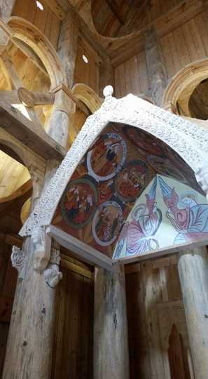 Color image of the baldachin inside the Hopperstad Stave Church replica, April 2, 2017.