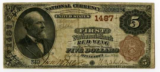 Bank of Red Wing bank note, signed by T.B. Sheldon