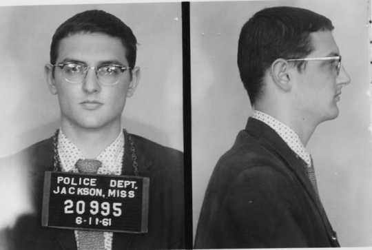 Freedom Rider Robert Baum photographed after his arrest by the Jackson Police Department in Jackson, Mississippi on July 11, 1961.