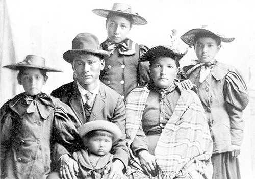 Black and white photograph of Beargrease family.