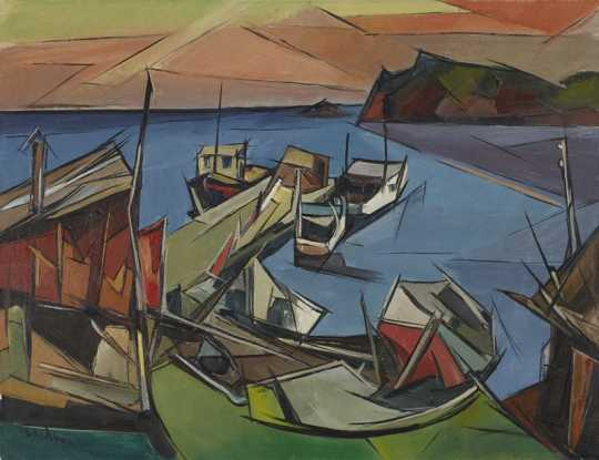 """""""Beaver Bay,"""" oil on canvas painting by Elof Wedin, 1949."""