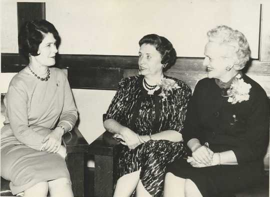 Black and white photograph of (left to right): Bernice Ranz (Crookston BPWC president); Marie Bishop (chair of Minnesota District #1); are Dorothy Chadwick (Minnesota state recording secretary), October 14, 1963.