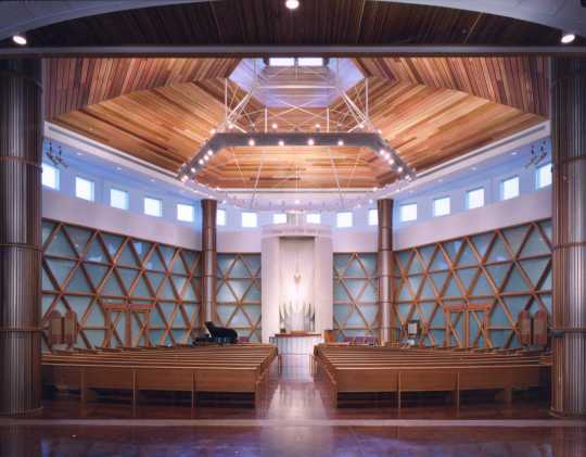Color photograph of the interior of Bet Shalom Congregation in Minnetonka. Photographed by Phillip Prowse c.2010.