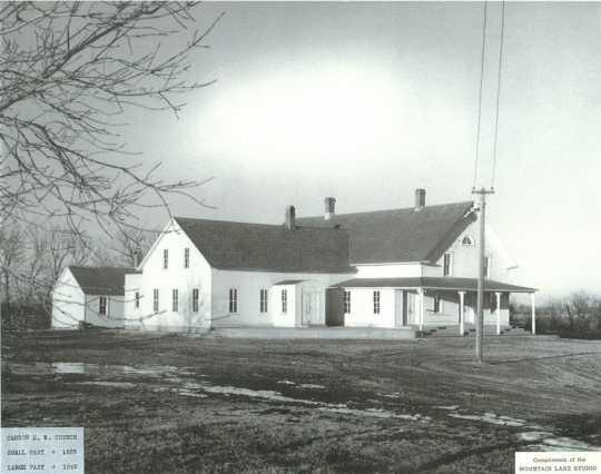 Black and white photograph of Bingham Lake Mennonite Brethren Church (1885–1949); date unknown.