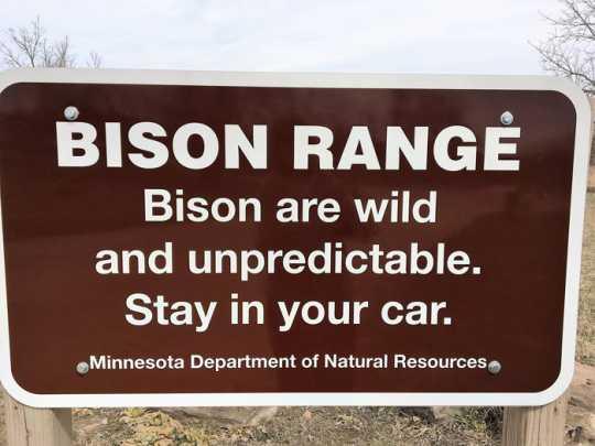 Color image of a Bison Range sign at Minneopa State Park, April 8, 2017.