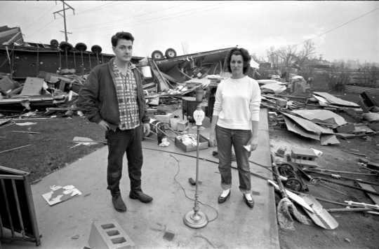 Mr. and Mrs. Charles Hutfles after the Fridley tornado