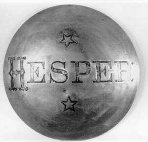 Black and white photograph of bronze capstan from the Hesper