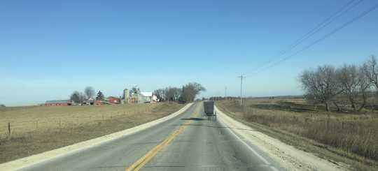 Amish Buggy Traveling Through the Harmony Countryside