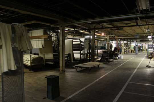 Color image of burling and surface texture area of the Faribault Woolen Mills Company, 2011.