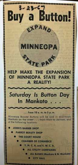 Advertisement for fundraising campaign printed in March 23, 1967 edition of the Mankato Free Press.