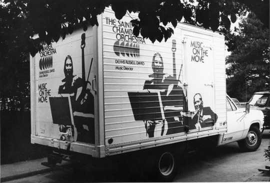 Black and white photograph of a Music on the Move truck, 1970s.