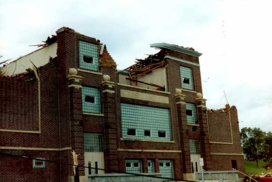 Color image of Chandler-Lake Wilson High School as it appeared after the Chandler-Lake Wilson tornado of 1992.
