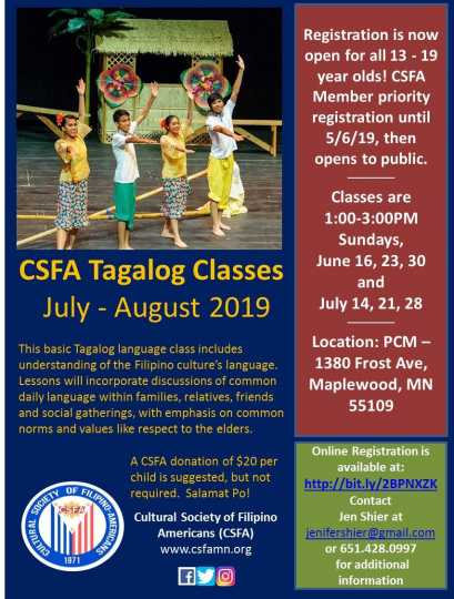 Flyer advertising Tagalog classes
