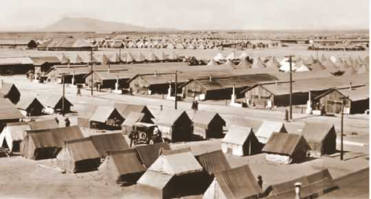 Black and white photograph of Camp Cody, Deming, New Mexico, 1917.