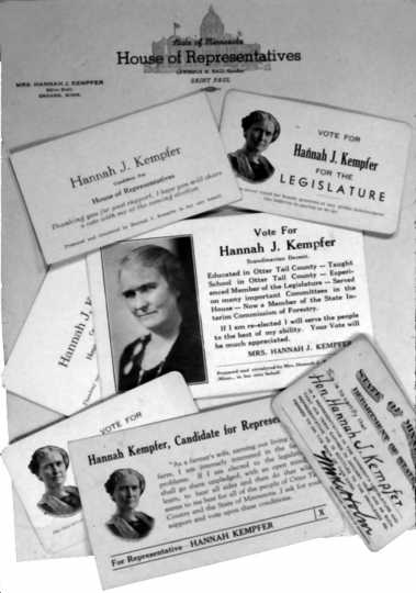 Legislative stationery and campaign cards of Hannah Kempfer
