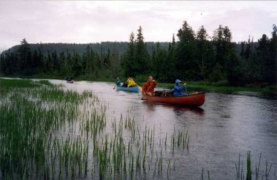 Color image of canoe campers in the BWCA, ca. 2006.