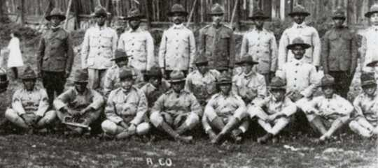 Black and white photograph of enlisted men of the Sixteenth Battalion, Minnesota Home Guard, c.1918.