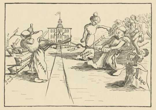 Cartoon showing the tug-of-war between the cities of Minneapolis and St. Peter for the location of the new Gustavus Adolphus College, from Manhem: Gustavus Adolphus Annual, 1904.
