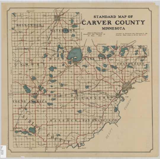 Standard map of Carver County, Minnesota. St. Paul : Minnesota Map Publishing Co., 1913.