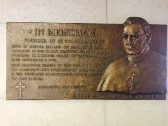 Plaque in memory of Father Michael J. Casey