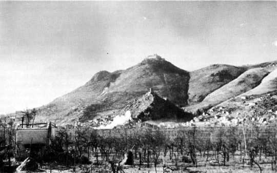 Black and white photograph of Monte Cassino and the Benedictine Monastery, 1943.