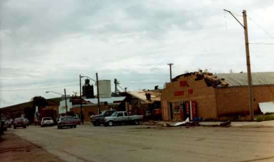 Main Street in Chandler after the Chandler–Lake Wilson Tornado, June 1992.