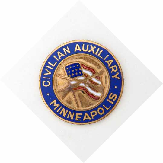 Color image of a Minneapolis Civilian Auxiliary button, c.1917.