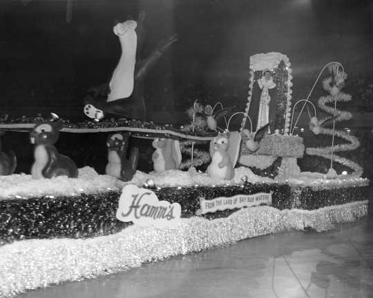 Photograph of Hamm's Bear float in St. Paul Winter Carnival Parade