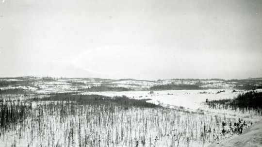 Black and white photograph of view from Mesabi Range, c.1916.