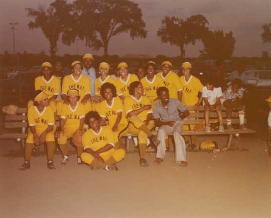 The Way women's softball team poses for a group portrait in Minneapolis ca. 1985. Photo by Charles Chamblis.