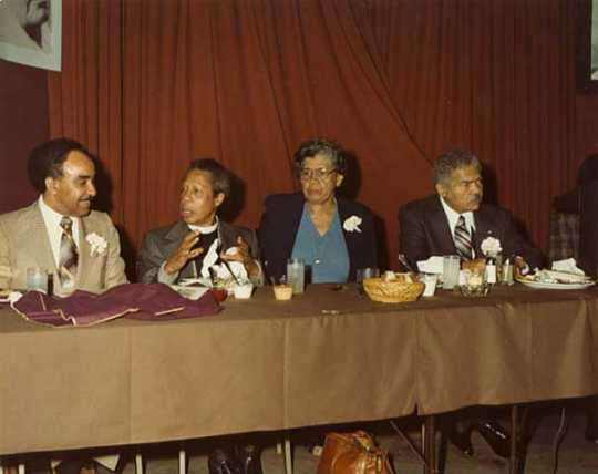 Color image of an event held in honor of Anthony Brutus Cassius, 1980.