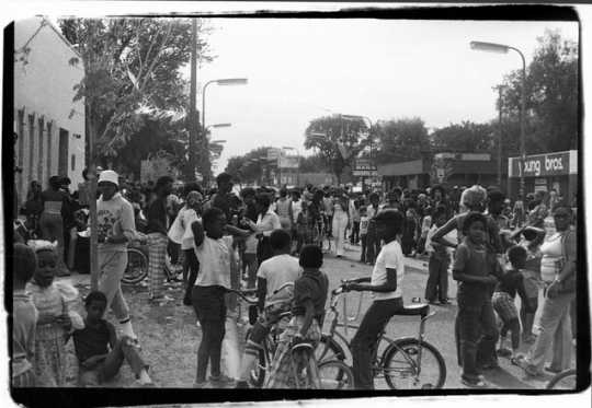 People outside of The Way community center. ca. 1985. Photo by Charles Chamblis.